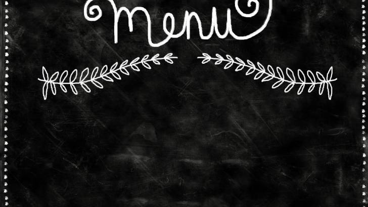 menu on a blackboard