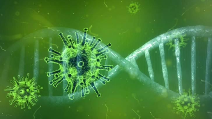 coronavirus and dna strand depiction