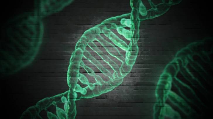 dna strands in green