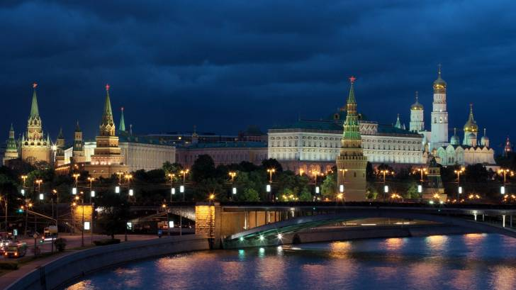 moscow with the night lights glowing
