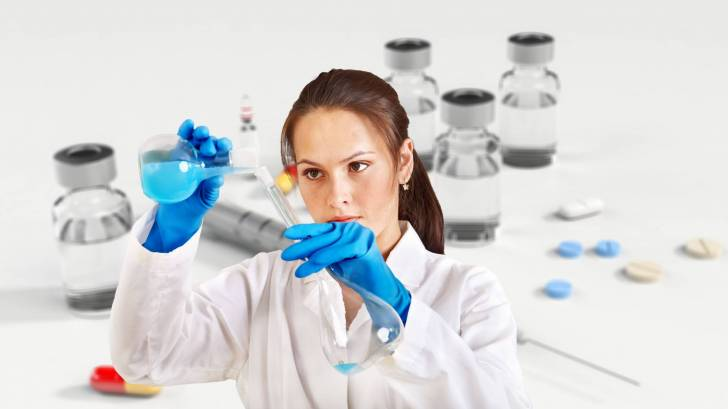 scientist working in a lab on a vaccine
