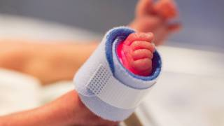 preemies foot being monitored in the hospital