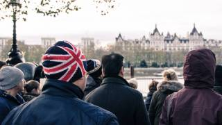 UK People senior in a UK Hat