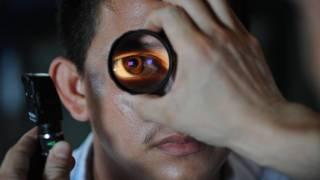 eye exam by an optometrist