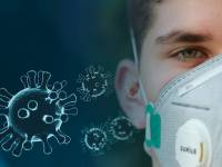 virus and person with mask on