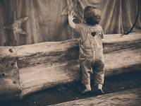toddler looking at a star on a stage